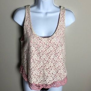 Aritzia Talula Pink and Cream Lace Blouse Size S